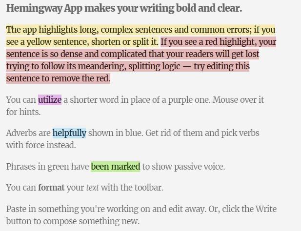 Hemingway Online Blogging Tool