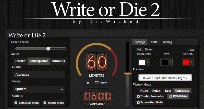 Write or Die Online Blogging Tool