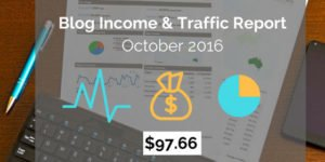 blog income traffic report October 2016
