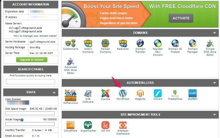 Cpanel X SiteGround Web Hosting