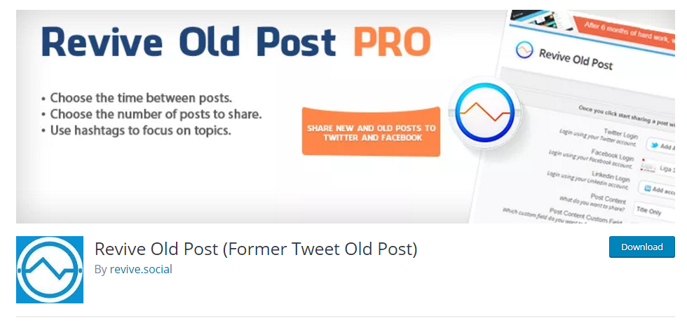 Revive Old Post Plugin for WordPress