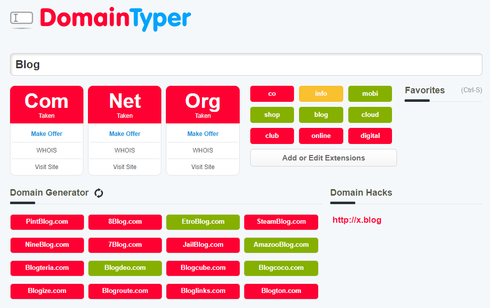 Domain Typer Business Name Suggestion Tool