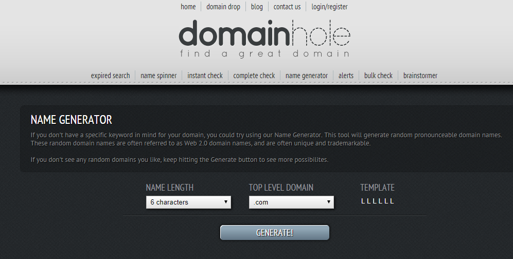 DomainHole Business Name Generator