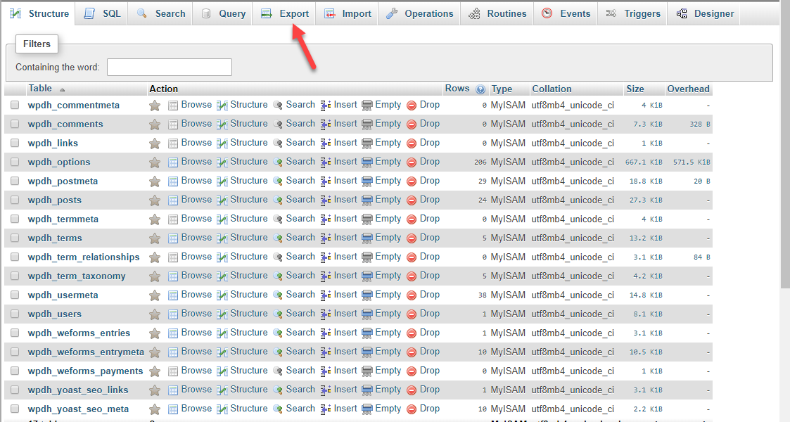 Export database phpMyAdmin