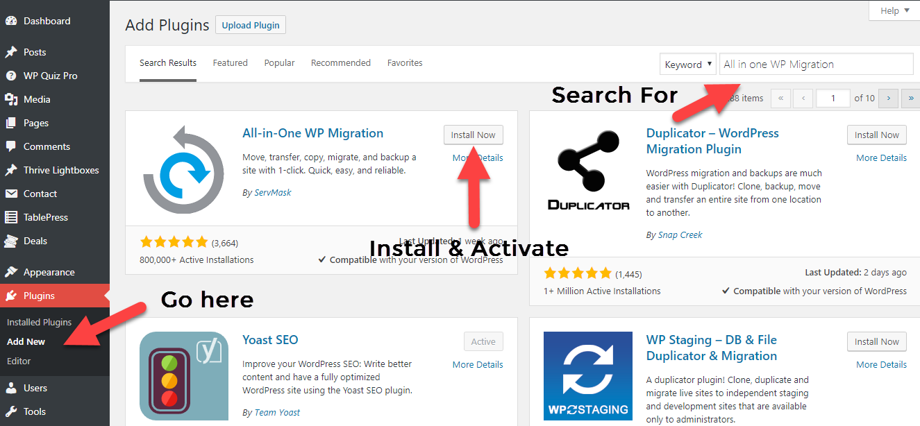 Install All in One WP Migration Plugin