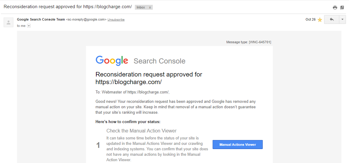 Reconsideration Request Approval Email from Google