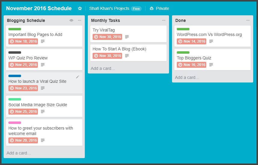 Trello Board as Content Calendar