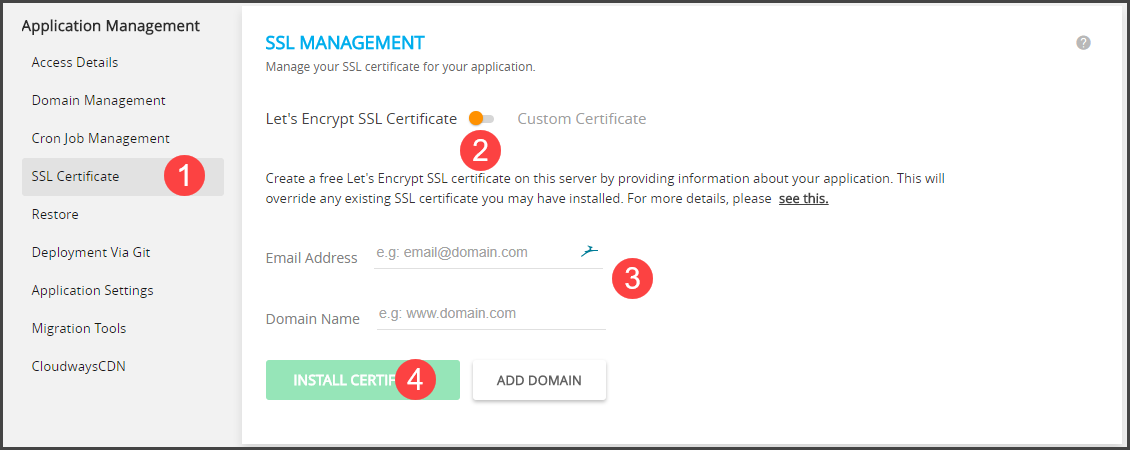 Step to Install SSL Certificate with Cloudways