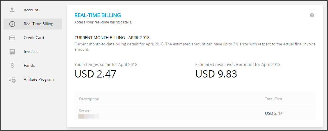 Cloudways Real time billing and estimated payout