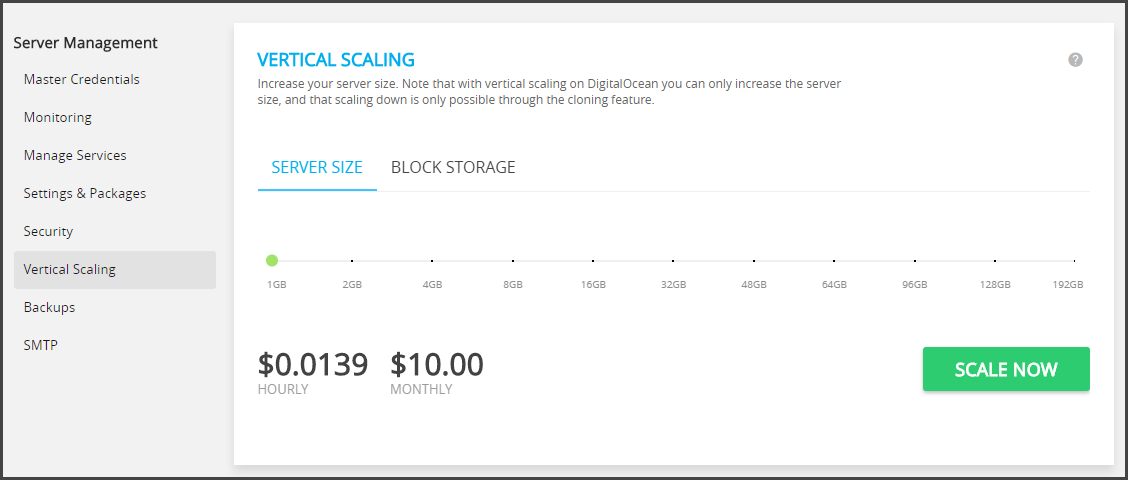 Cloudways Vertical Scaling