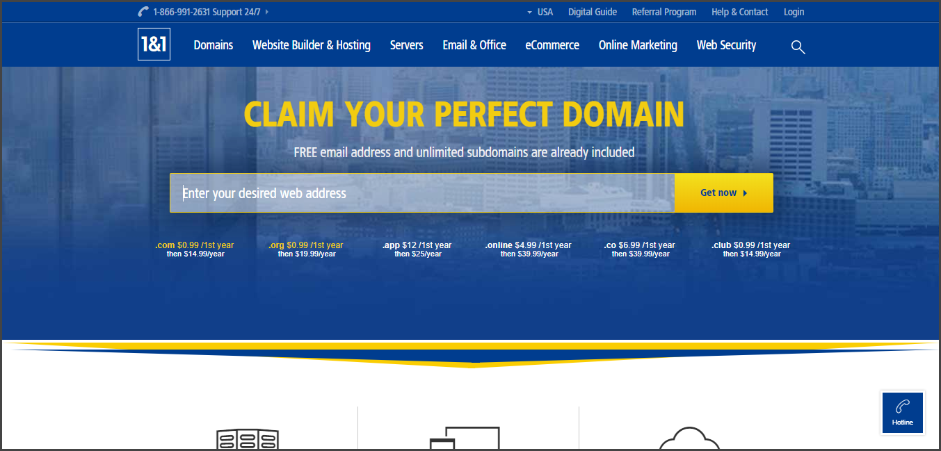 1and1 - Best Domain Name Registrars