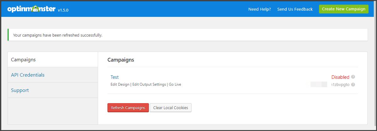 Campaign in WordPress screeen OptinMonster