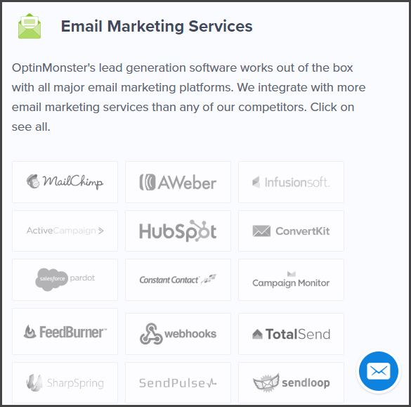 Email Marketing Services Supported by OptinMonster