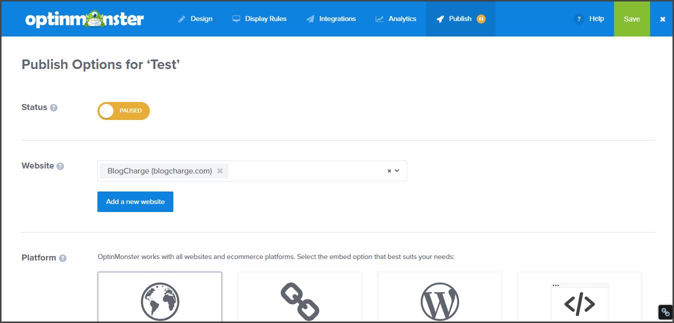 Publish email optin OptinMonster