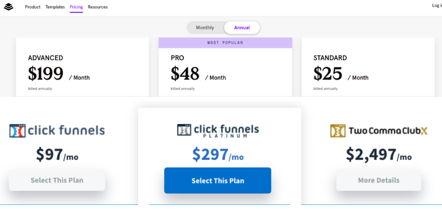 pricing Leadpages vs clickfunnels (1)